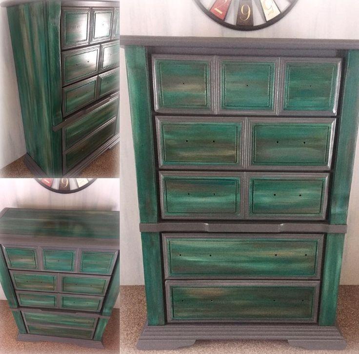 Turquoise and gray hand painted dresser👏🙌🤤❤. #oneofakind #buylocal #art #turquoise #gray #handpainted #rustic #valspar #paintedfurniture #dresser #bedroom