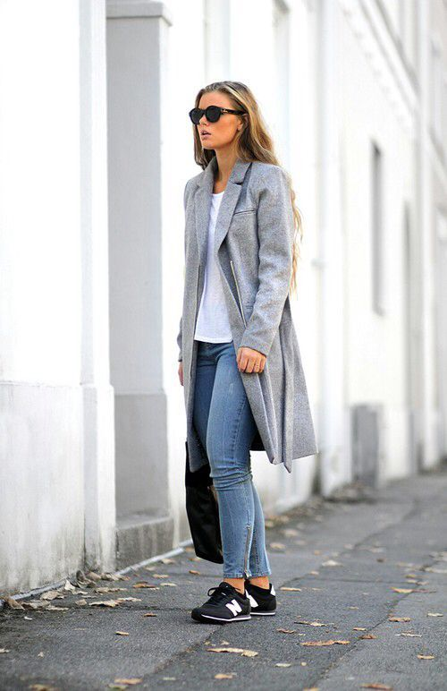 To create an outfit for lunch with friends at the weekend go for a grey coat and blue slim jeans. Black and white low top sneakers will give your look an on-trend feel.  Shop this look for $98:  http://lookastic.com/women/looks/sunglasses-crew-neck-t-shirt-coat-skinny-jeans-tote-bag-low-top-sneakers/5905  — Black Sunglasses  — White Crew-neck T-shirt  — Grey Coat  — Blue Skinny Jeans  — Black Leather Tote Bag  — Black and White Low Top Sneakers