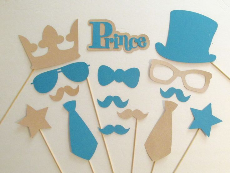 Photo Booth Props Little Man Party Decorations Gender Reveal Party Prince Photo…