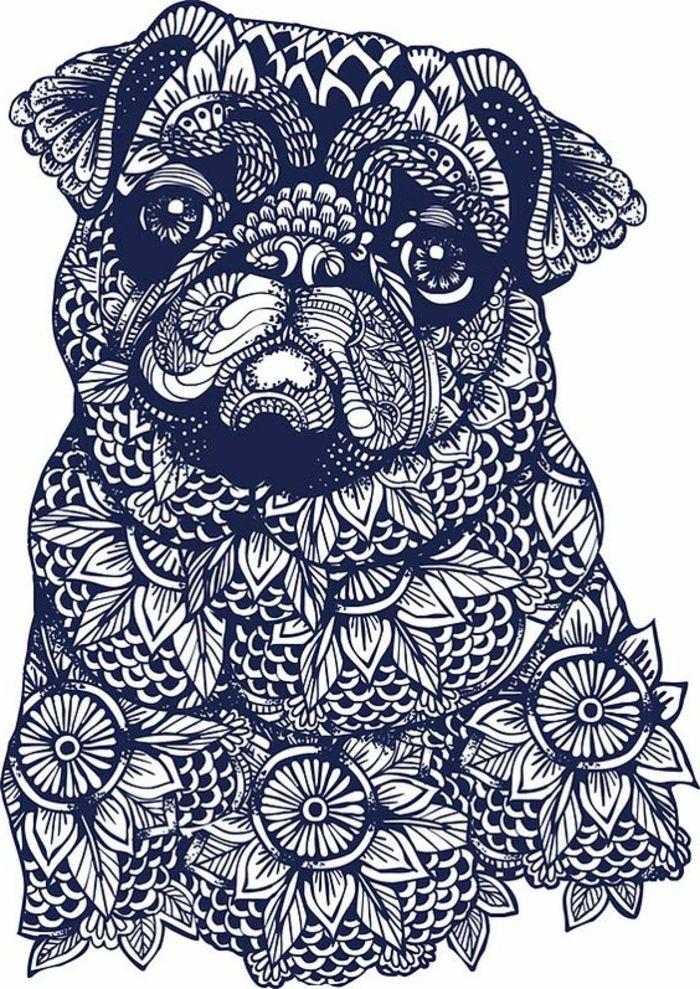 petit mandala, sticker chien mandala, motifs floraux, feuilles, mandala blanc et noir, papier blanc