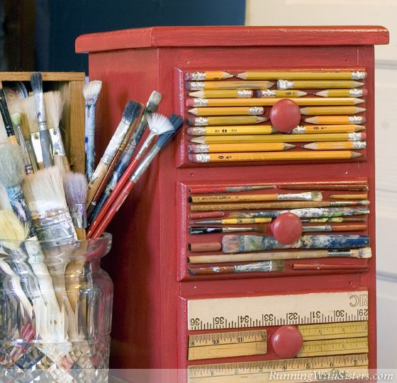Art Supplies Chest. Pencils, paint brushes, rulers, and yardsticks turn plain drawers into creative storage!