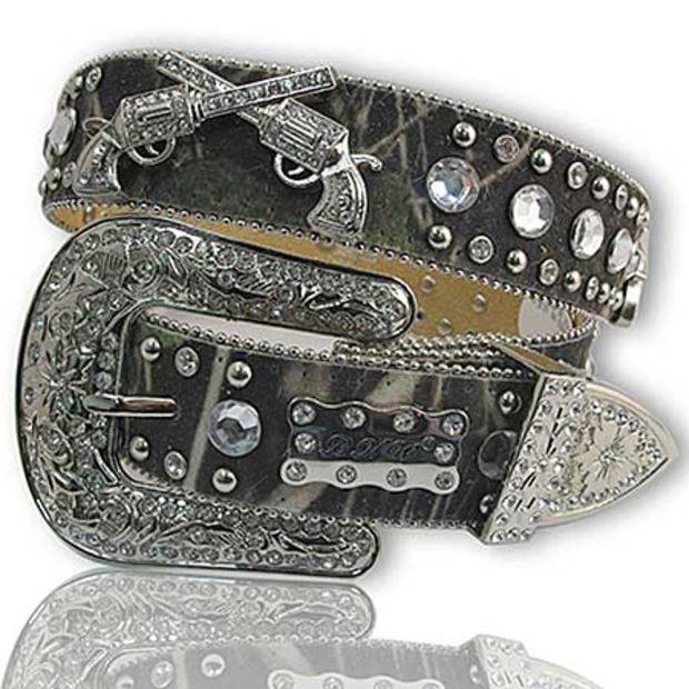 Mossy Oak Camo GUN PISTOL Rhinestone Western Belt S: Western Wear for Women & Cowgirl Boutique - Western Cowgirl Online Store