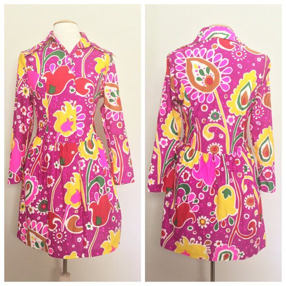 Groovy Psychedelic 60s 70s Dress // Sears Jr. by HeartsAndHearts