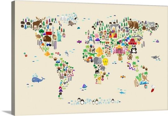 Animal Map of the World for children, Tan Photo Canvas Print | Great Big Canvas