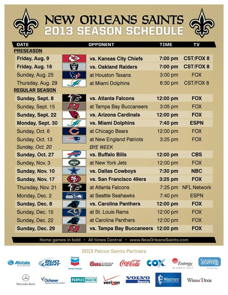 The 2013 New Orleans Saints schedule is here!