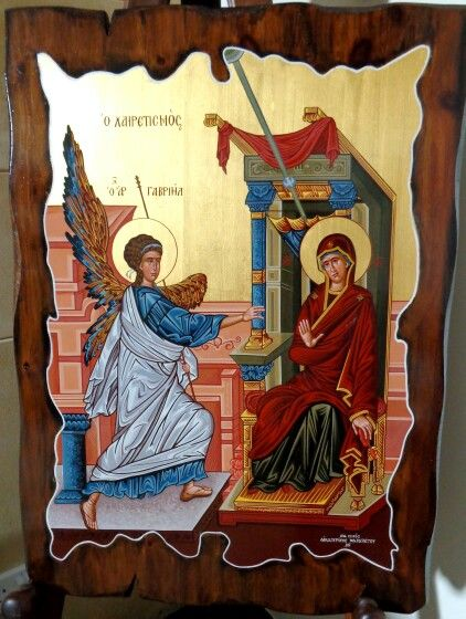 The Annunciation antique style 70 x 50 cm gold leaf 23k By www.anatasipsixis.com