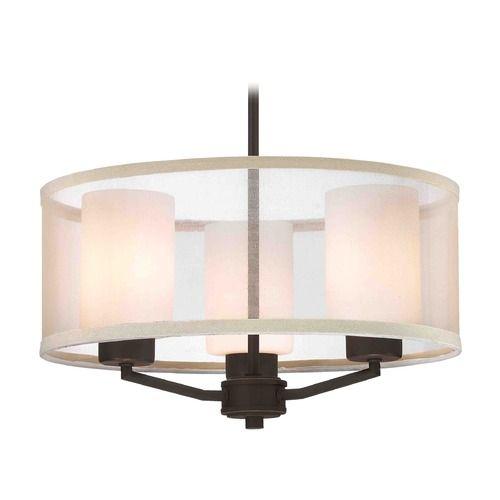 Organza Drum Pendant Light Bronze 3-Light | 1723-78 | Destination Lighting
