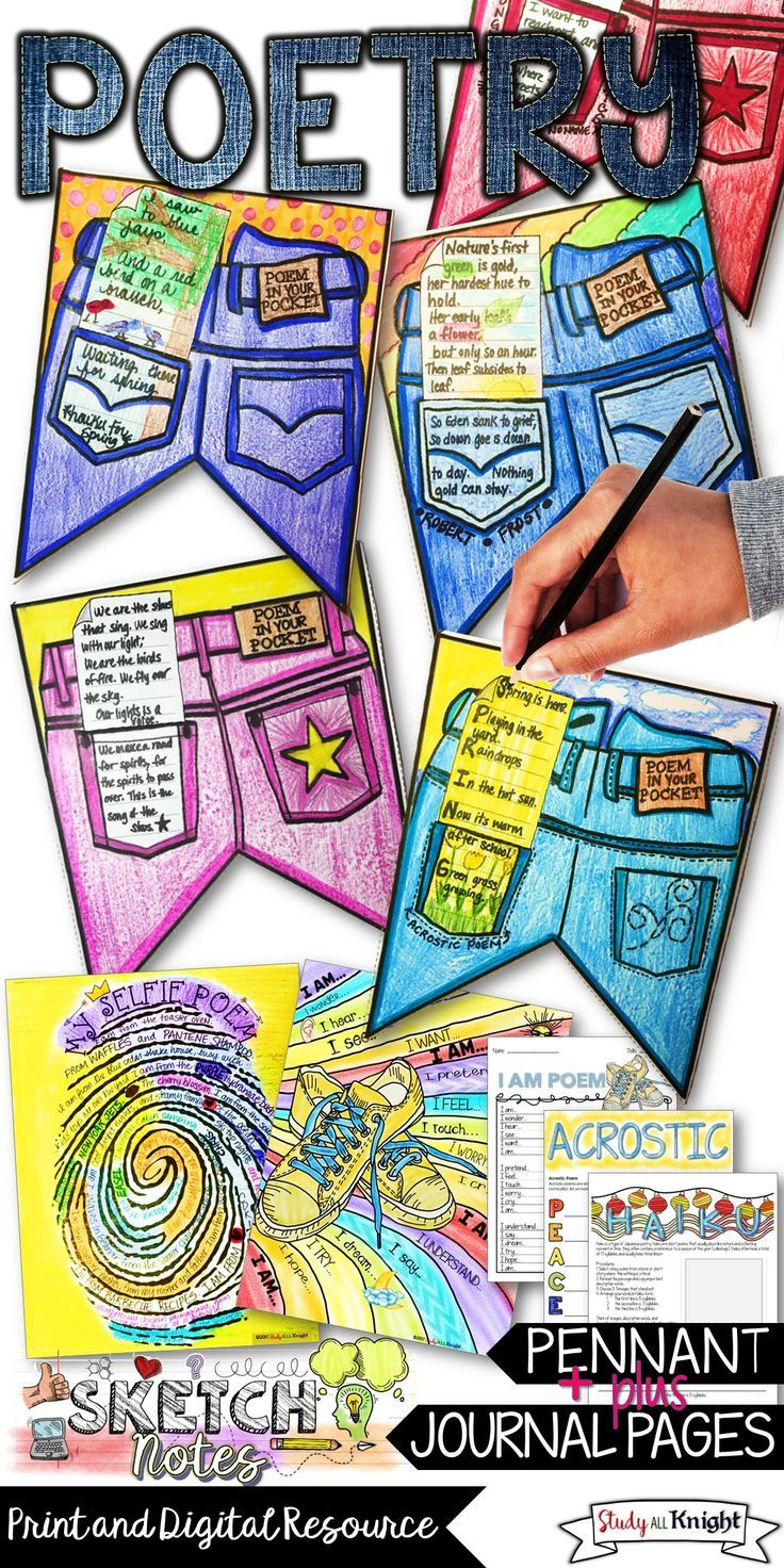 "English Language Arts | Middle school ELA | High School English| April is National Poetry Month. Students will love their poetry writing pages and Poem in Your Pocket pennant. English teachers | poetry lessons to get students enthusiastic about haiku, acrostic, I am poems, and ""My Selfie Poems."" Get visual with the poetry organizers and templates for your students to kick start their creativity! ($)"