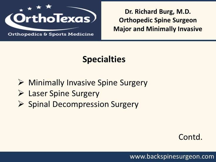 For comprehensive diagnosis and treatment of various orthopedic conditions of the neck and sine, consider Dr. Burg. The orthopedic surgeon in McKinney specializes in treating back pain, neck pain, Pinched nerve, Scoliosis, Rheumatoid Arthritis of the Spine, Herniated Disc, Spinal Stenosis, and Kyphosis etc. For more details, visit : http://www.backspinesurgeon.com