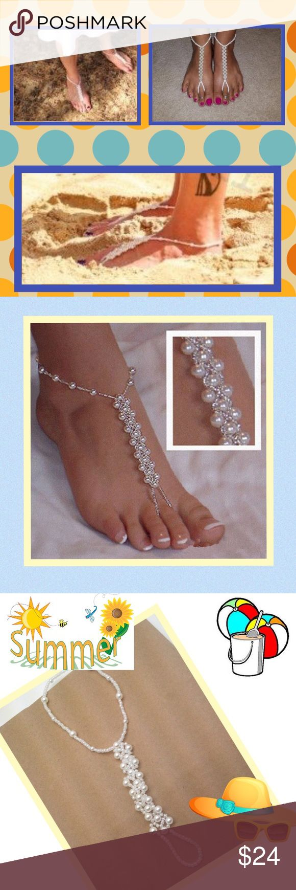 Set of Faux Pearl Foot Jewelry/Soleless Sandals ☀️ Stunning triple Pearl Design. ☀️Wear as Ankle to Toe Soleless Sandals or with your Sandals as foot/ankle jewelry ☀️Wear with or without sandals☀️Beautiful, Trending,Unique, & Versatile! ☀️Ideal For Holiday & Beach Wear. ☀️Perfect for Bridal Wear weddings abroad during Summer months.  ☀️Elasticated throughout ☀️From beach to Boardwalk ☀️From flip flops to bare feet Jewelry