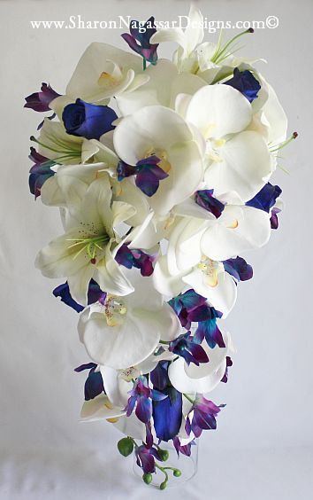 Hey, I found this really awesome Etsy listing at https://www.etsy.com/listing/231623969/blue-orchids-cascade-cascading-bouquet