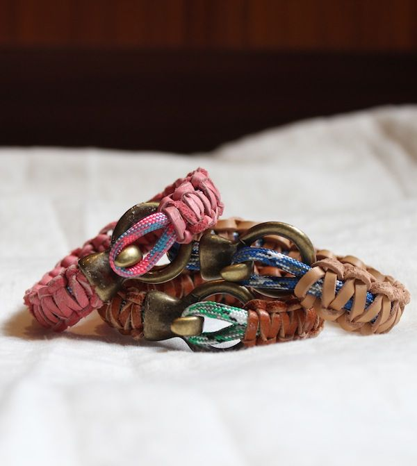 DIY: Leather and paracord bracelets