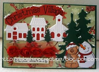 Marianne products used: collectable die  Christmas Village COL  1329, paper block Christmas Wishes PK 9087, stamp stampfairy SF 1114, ribbon roses red , creatble die christmas tree LR 0136
