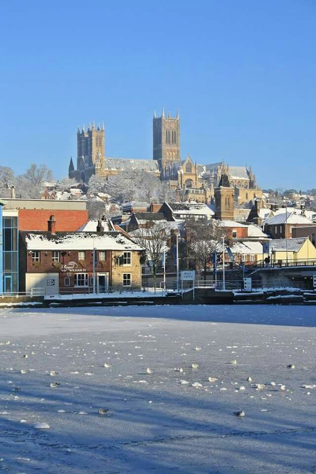 Winter at Brayford Pool & Cathedral, Lincoln, England