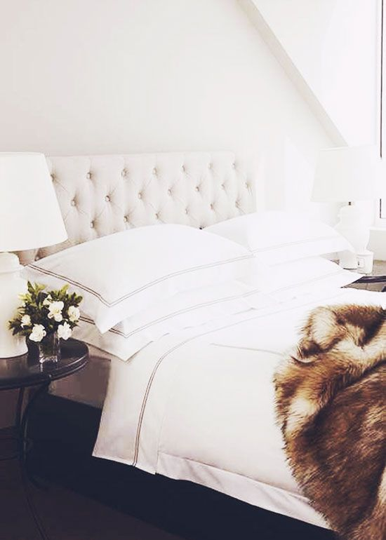 I love a White bedroom with a touch of faux fur, so very Glam, Darling......................