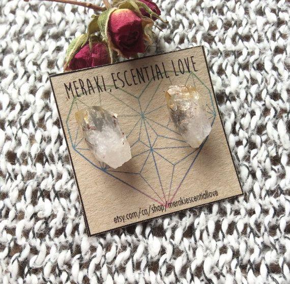 Citrine Earrings. Raw Citrine Earring Studs. Summer Jewelry, Boho Jewelry.