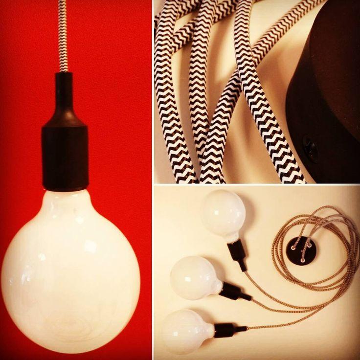 Filotto personalizzato con tre portalampada in silicone nero e filo di cotone spigato bianco e nero. Da 20 € per ordini link in bio Customized lamp with black lampholder and black and white  wire. Search OGarredo on Amazon. . . . . . . #illuminazione #idee #natale #arredo #arredamento #interiordesign #casa #casafacile #luci #home #vtwonen #muuto #E27#diy #black #red #gubbio #perugia #todi #foligno #gualdotadino #umbertide #cagli #cantiano #pesaro #shoponline #amazon #filotto #tavolotto…