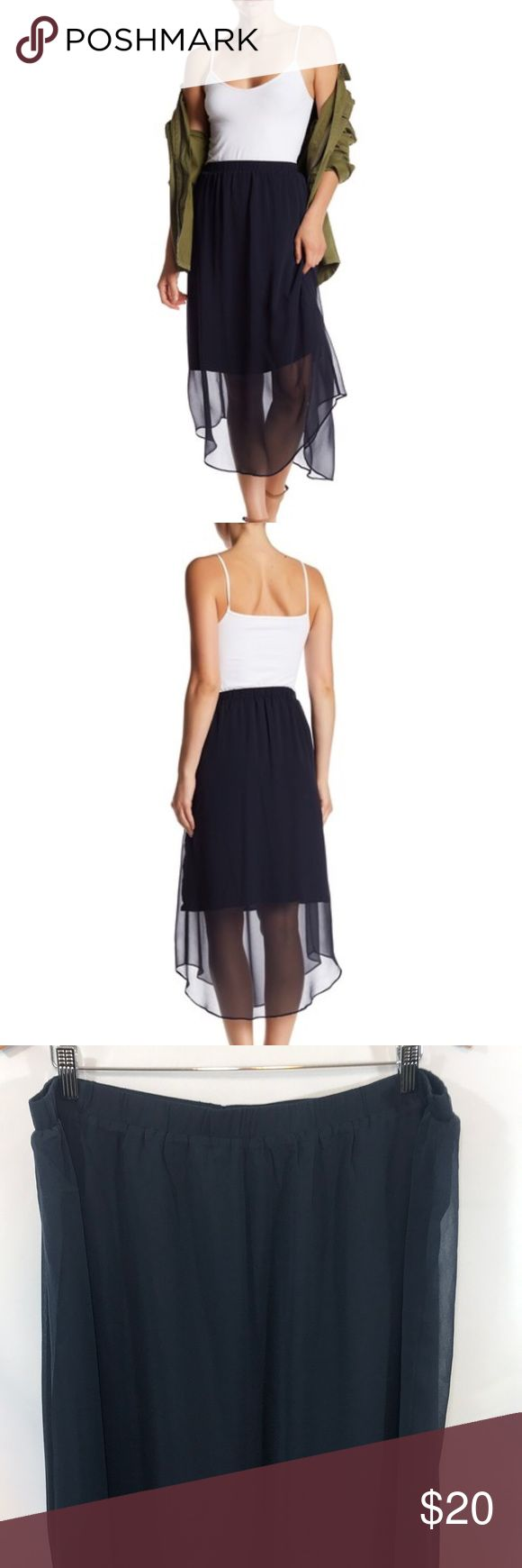 Joe Freeh Semi Sheer Midi Skirt Details - Midnight Blue Color - Elasticized waist - Lightly pleated - Semi sheer construction - Shirt tail hem - Lined - Imported Fiber Content 100% polyester Care Machine wash Additional Info Fit: this style fits true to size. Measurements are in the photos Joe Fresh Skirts Midi