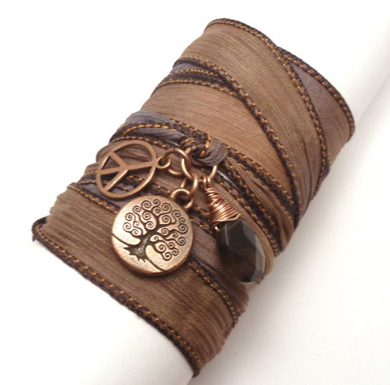Silk Wrap Bracelet with Tree of Life by charmeddesign1012 on Etsy, $33