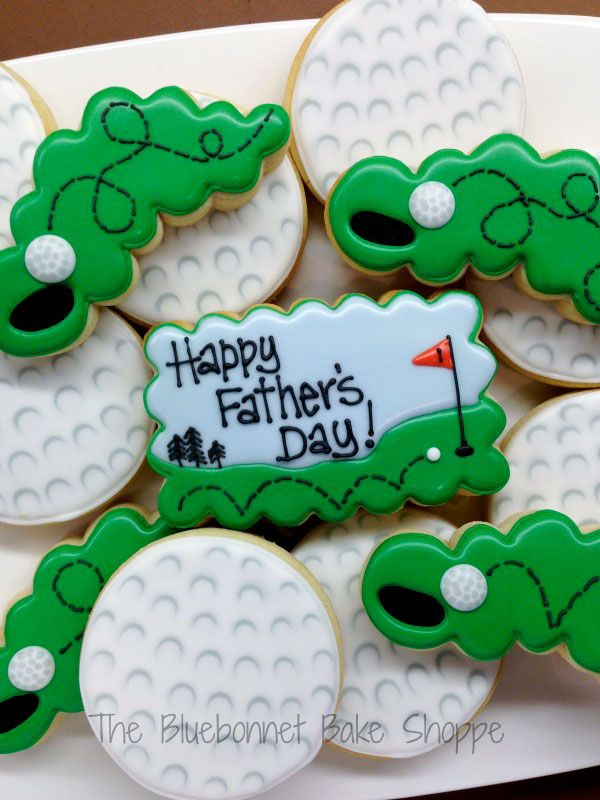 "Padre"">-Day-COOKIE-Ideas Decorado-Pelota de golf-cookies-con-los verdes"