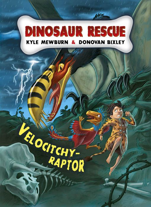 """Dinosaur Rescue Velocitcy-raptor"". Illustrated by Donovan Bixley. Written by Kyle Mewburn. Published by Schoilastic 2011."