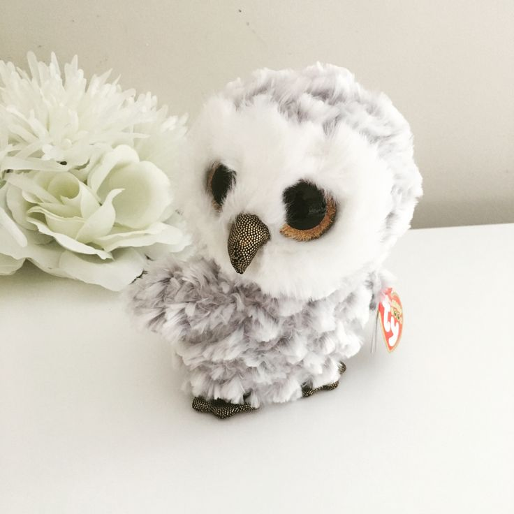 39b92afc2c1 Owlette Beanie Boo TY White   Grey Owl Beanie Babies Soft Toy ...