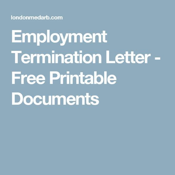 Employment Termination Letter - Free Printable Documents