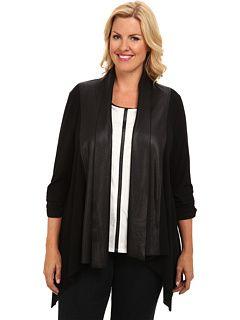 Karen Kane Plus Size Fashion Black Plus Size Blue Moon Black Faux Leather Collar Cardigan Black  available from 6PM #Karen_Kane #6PM #Designer #Plus #Size #Clothing #Plus_Size_Fashion #ScoreScore