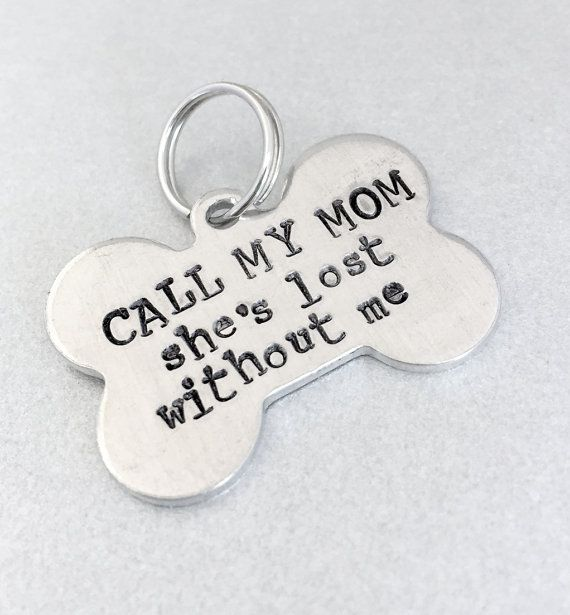 Hand Stamped Pet ID Tag / Call My Mom / Dog Bone Dog by emerydrive