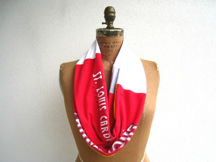 Saint Louis Cardinals T Shirt Infinity Scarf / Valentine Red White Yellow Gold / Upcycled / Recycled / Winter / Cotton / Soft / Fun / ohzie. $25.00, via Etsy.