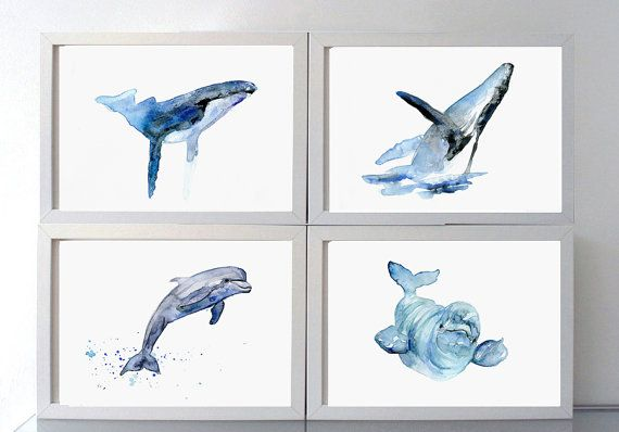 Humpback Whale Watercolor Giclee print Animal by Zendrawing