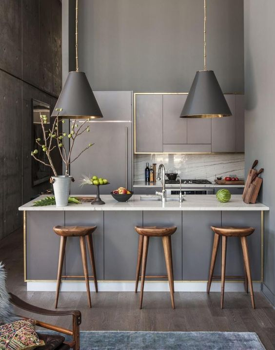 Luxury Grey or Light Grey love this. white kick board and bench top. grey cabintry and pendants. golden stools.