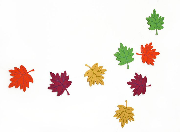 #garland with #leaves in #yellow #gold #orange #green #purple #burgundy cardboard #autumn #fall #decoration - pinned by pin4etsy.com