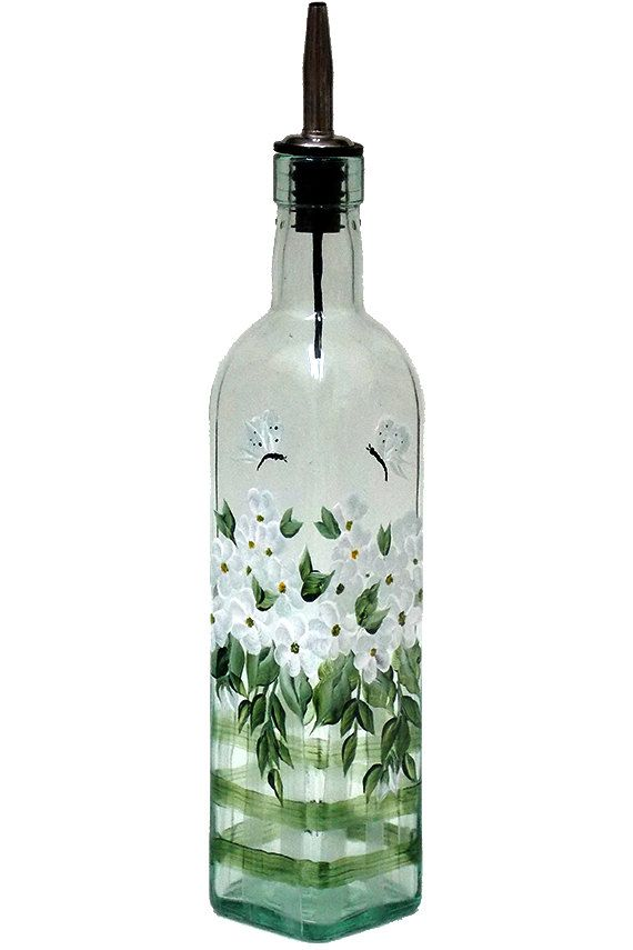 Hand Painted Glass Bottle Olive Oil Dispenser White Flowers Butterflies Hand Painted Glassware Hand Painted Oil Bottles Olive Oil Bottles (painted by Helen Krupenina)
