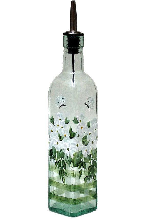 Pintado a mano vidrio botella aceite de oliva dispensador flores blancas mariposas pintadas a mano vidrio pintado botellas de dispensadores de jabón de aceite de vinagre