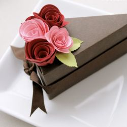We love these paper cake boxes found on Etsy!  What a perfect little spot to hide goodies :)