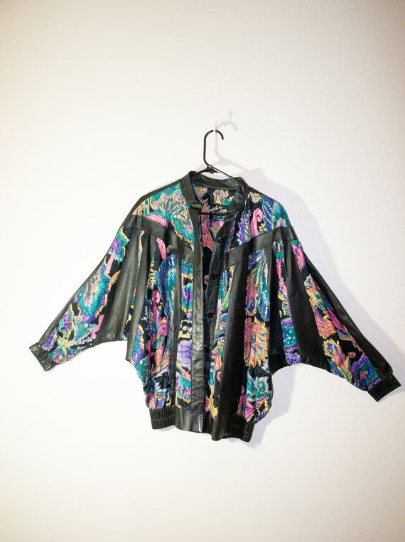 1980s 1990s genuine leather beaded jacket, colorful pattern 80s 90s fashion, button up outerwear, soft grunge, spring 2014, hipster urban