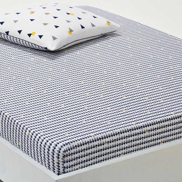 Image Digna, Printed Cotton Percale Fitted Sheet La Redoute Interieurs