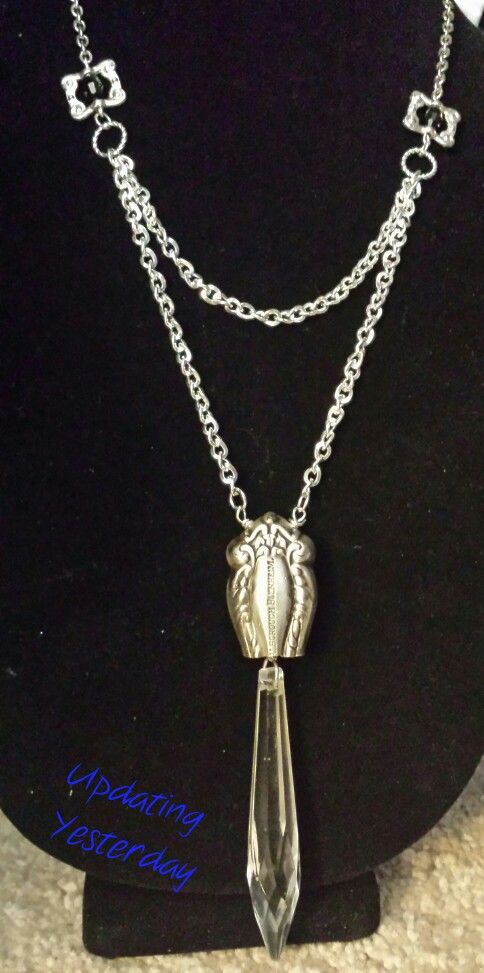Silverplate knife handle chandelier prism necklace - Updating Yesterday