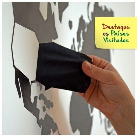 Adesivo Mapa-Múndi Depilável com Países Destacáveis