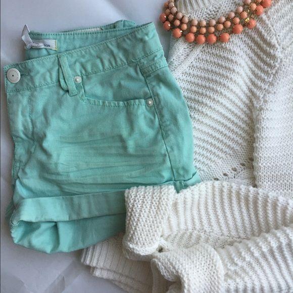 BCBGeneration Shorts Mint green denim shorts. Cuffed. White metal hardware. Plain back pockets. BCBGeneration Shorts