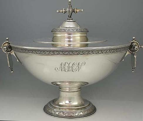 John Wendt (attributed) sterling silver tureen, with decorative ivy motif band and unusual finial and handle design- marked Henry Brown, Providence c1865 (Britannia Silver)