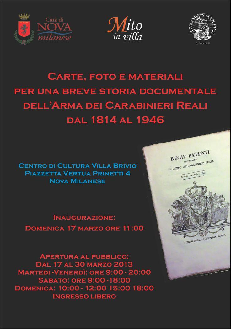 Manifesto mostra Carte, foto e materiali per una breve storia documentale dell'Arma dei CarabinieriReali dal 1814 al 1946