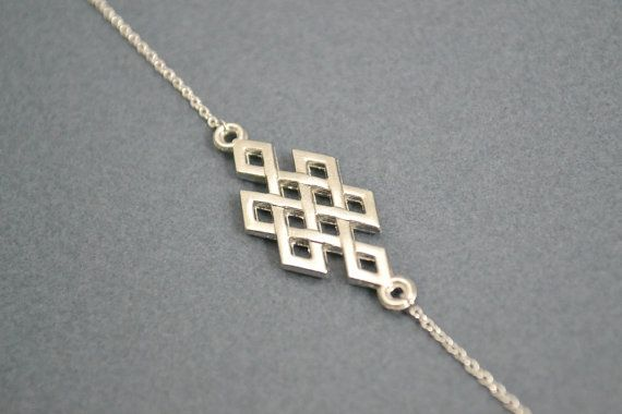 Eternal Knot Necklace Silver Eternity Symbol by Discoluxe on Etsy