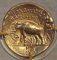 Ptolemy I Soter gold stater with elephant quadriga,Cyrenaica.