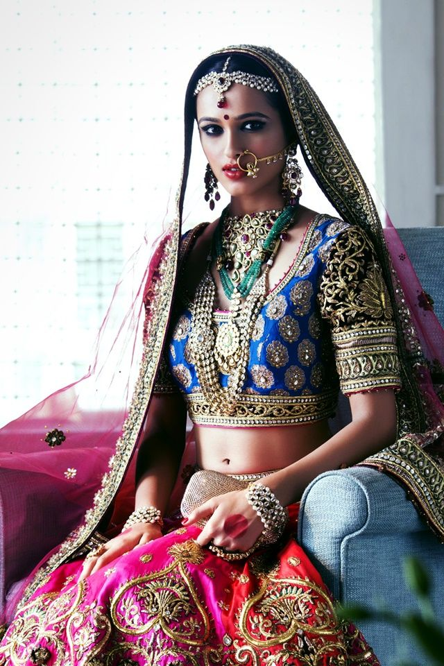 Tarun Tahiliani Bridal Pink & Orange Embroidered #Lehenga With Blue #Blouse.