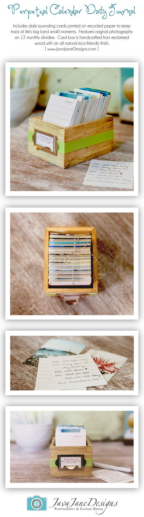 Perpetual Calendar Daily Journal with Rustic Wood Box - Earth Day Eco-Friendly Gift - 2014 Calendar