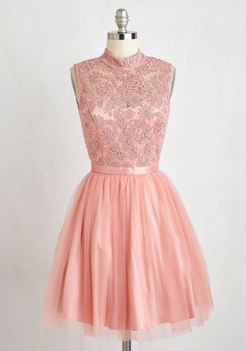 Belle Me Something Good Dress - Mid-length, Lace, Tulle, Pink, Solid, Lace, Special Occasion, Party, Fit & Flare, Sleeveless, Woven, Better, Backless, Prom