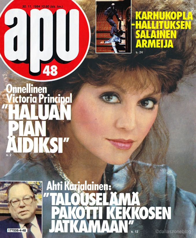 Dallas' Victoria Principal wants to be a mom soon! Apu magazine 1984.