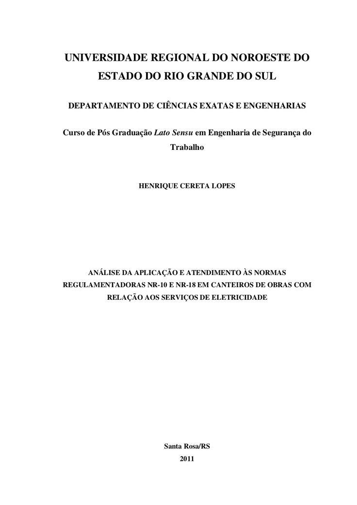 UNIVERSIDADE REGIONAL DO NOROESTE DO  ESTADO DO RIO GRANDE DO SUL  DEPARTAMENTO DE CIÊNCIAS EXATAS E ENGENHARIAS  Curso de Pó...